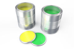 Cans with yellow  and green paint. Cans with yellow and green paint isolated on white background Royalty Free Stock Photo
