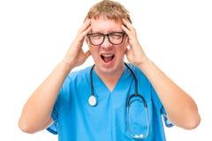 Cansado dos pacientes o doutor foi louco e gritando Foto de Stock Royalty Free
