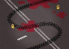 Canse en marcas del asfalto y de camino bajo la forma de dólar Imagen de archivo
