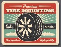 Canse los iconos del servicio, del coche y de la rueda del montaje ilustración del vector