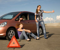 Cant fix our car! Royalty Free Stock Images