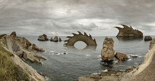 Cantabrië, Costa Quebrada, verbazende rotsvormingen Royalty-vrije Stock Foto's
