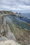 Cantabria, Costa Quebrada, formazioni rocciose stupefacenti Immagini Stock Libere da Diritti