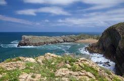 Cantabria, Costa Quebrada. View towards beach Playa de Somocuevas royalty free stock photo