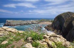 Cantabria, Costa Quebrada. View towards beach Playa de Somocuevas royalty free stock images