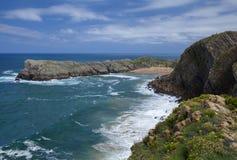 Cantabria, Costa Quebrada. View towards beach Playa de Somocuevas royalty free stock photos