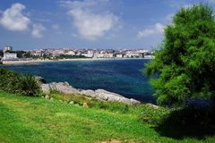 Cantabrian coast in Santander, the Bay of Biscay, Atlantic Ocean, Spain. Cantabria is a beatiful region on the Bay of Biscay in northern Spain with two hundred royalty free stock image