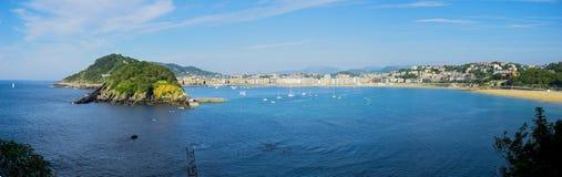Cantabrian sea, beach and bay of La Concha Stock Photo