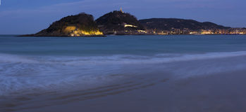 Cantabrian Sea and Concha Beach in the city Stock Image