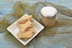 Cantabrian Sea Tuna, albacore glass jar Stock Image