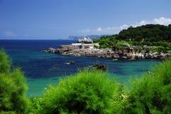 Cantabrische kust in Santander, de Golf van Biskaje, de Atlantische Oceaan, Spanje stock foto's