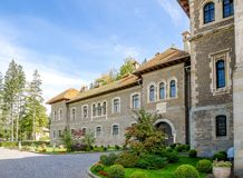 Cantacuzino Castle in Busteni city of Romania on a beautiful sunny day Royalty Free Stock Photos