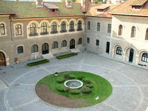 Cantacuzino Castle courtyard royalty free stock photo