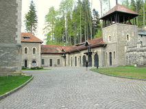 Cantacuzino Castle courtyard. Cantacuzino Castle is situated in Bușteni, Romania. The Castle belonged to the family Cantacuzino until nationalization of 1948 Stock Photography