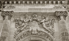 Cantacuzino family blazon. Carved above the entrance of the castle from a Floresti Stock Photo