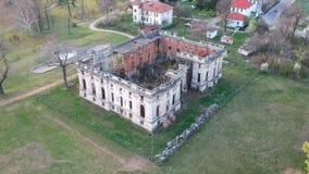 Cantacuzino Palace in Floresti , Romania , architectural aerial footage. Architectural aerial footage  showing the ruins of the Cantacuzino palace in Floresti stock video footage