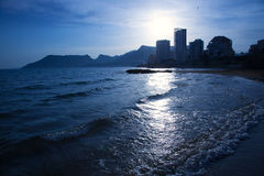 Cantal roig beach in blue sunset at Calpe in Alicante Stock Images