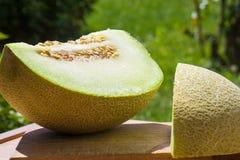 Cantaloup coupé en tranches par vert Photos libres de droits