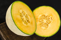 Cantaloup Melon Cut in Half Stock Images
