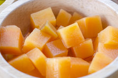 Cantaloup in wooden bowl Stock Photo