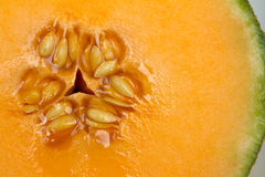 Cantaloupe. Closeup with seeds for background royalty free stock photos