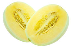 Cantaloupe. A part of cantaloup on the white background Royalty Free Stock Photo