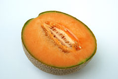 Cantaloupe. Is normally eaten as a fresh fruit, as a salad, or as a dessert with ice-cream or custard. Melon pieces wrapped in prosciutto are a familiar modern Royalty Free Stock Photography