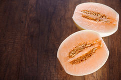 Cantaloupe or Charentais melon with half Royalty Free Stock Images