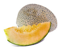 Cantaloupe or Charentais melon isolated on white Royalty Free Stock Photography