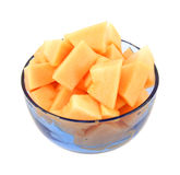 Cantaloupe chunks in blue bowl Royalty Free Stock Image