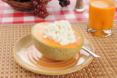 Cantaloupe with cottage cheese Royalty Free Stock Images