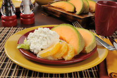 Cantaloupe and cottage cheese Stock Photography