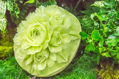 Cantaloupe  fruit carving in the garden. on table sets. Stock Photo