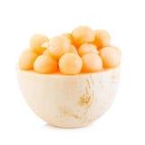 Cantaloupe melon balls on white Background Stock Images