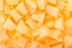 Cantaloupe melon chunks background Royalty Free Stock Photo