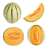 Cantaloupe melon cut in 4 different shapes Stock Image