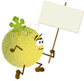 Cantaloupe melon holding blank signboard Stock Photography