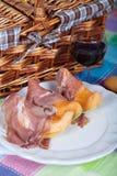 Cantaloupe melon with italian ham Royalty Free Stock Photos
