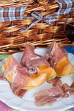 Cantaloupe melon with italian ham Royalty Free Stock Photography