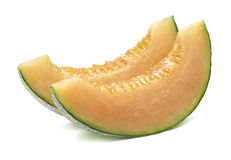 Cantaloupe melon parallel slices isolated on white stock photography