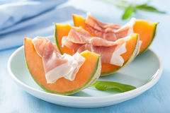 Cantaloupe melon with prosciutto. italian appetizer Royalty Free Stock Photo