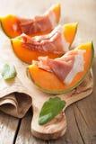 Cantaloupe melon with prosciutto. italian appetizer Royalty Free Stock Photos