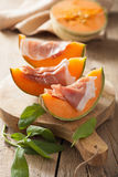 Cantaloupe melon with prosciutto. italian appetizer Royalty Free Stock Photography