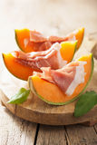 Cantaloupe melon with prosciutto. italian appetizer Royalty Free Stock Images