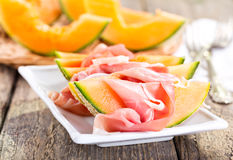 Cantaloupe melon with prosciutto Royalty Free Stock Photo