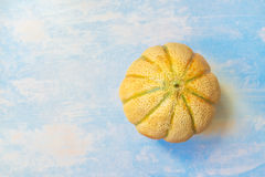 Cantaloupe melon on rustic wooden table, top view Stock Photo