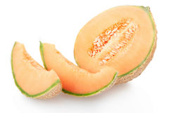 Cantaloupe melon section and slices on white Stock Photos