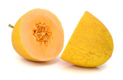 Cantaloupe melon section on white Royalty Free Stock Images