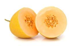 Cantaloupe melon section on white Stock Photography
