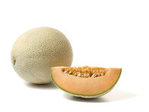 cantaloupe melon and slice Royalty Free Stock Photo